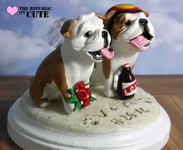 Custom Bulldog Wedding Cake Toppers