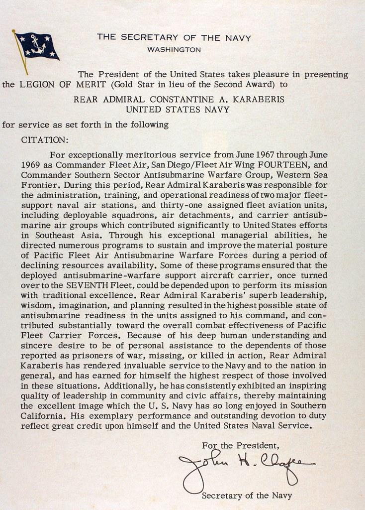 Legion of Merit Citation Example Legion of Merit Gold Star in Lieu of The 2nd Award Citation