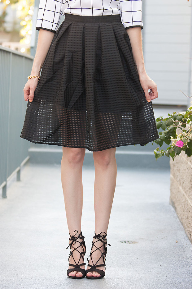 Walk Trendy Black Check Skirt, Lace Up Heels