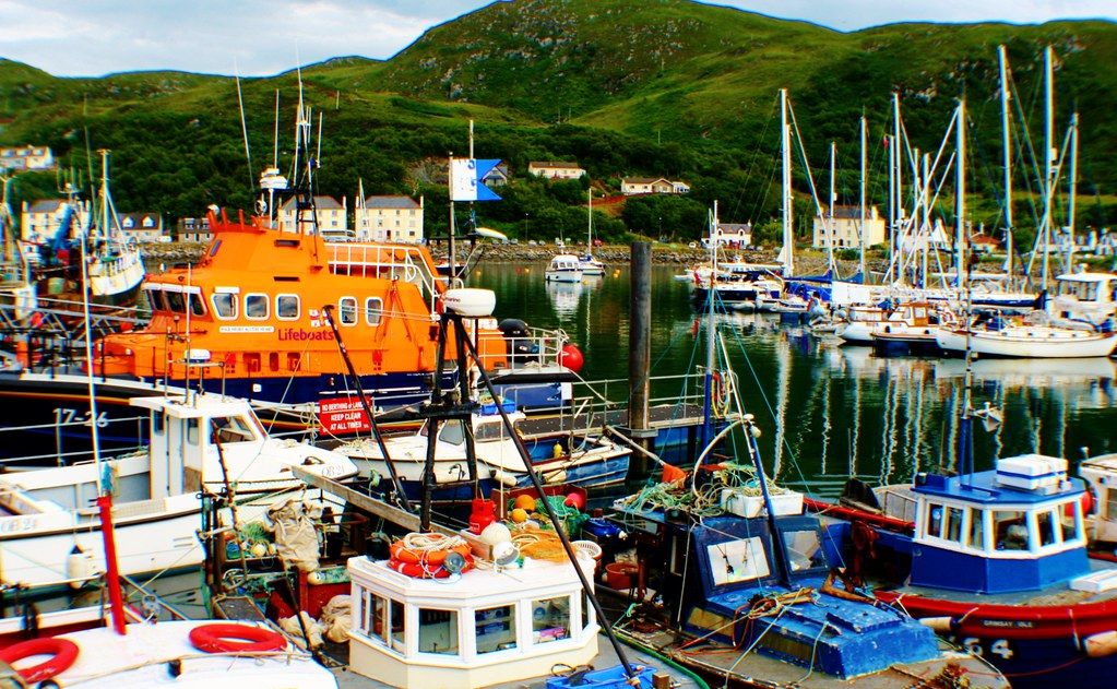 Busy harbour at Mallaig, Scotland