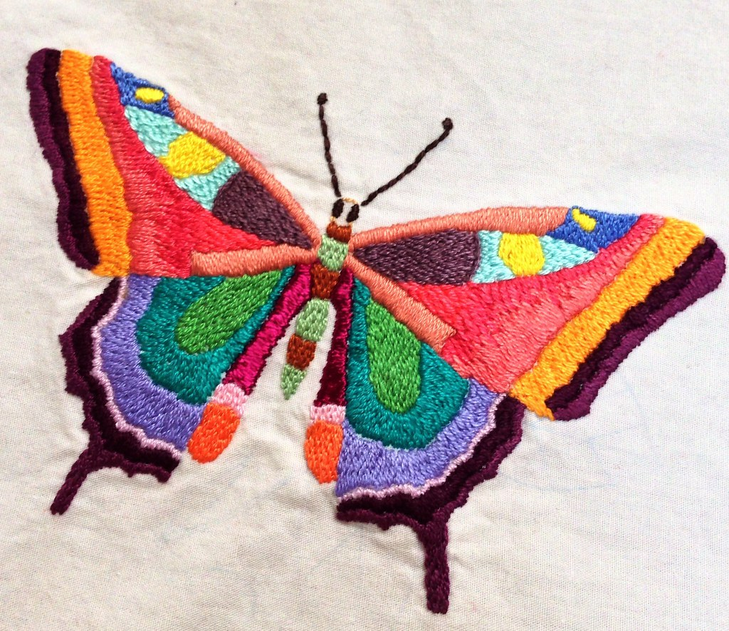 Embroidered butterfly | I'm hoping to finish twenty or ...