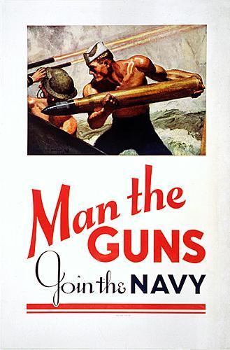 World War II Poster - man the guns