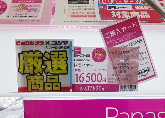 6 日本旅遊必買電器 BIC CAMERA 天后江蕙愛用 Panasonic EH-CNA96 EH-NA96