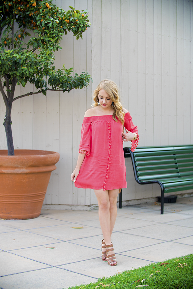 boho tassel off the shoulder dress