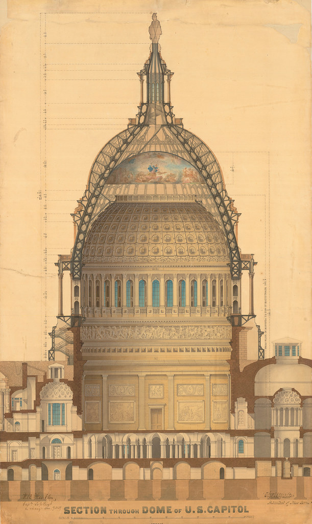 U S Capitol Dome Section Drawing By Thomas Walter 1859