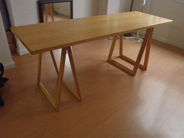 Solid wood table with sawhorse legs flickr photo sharing Sawhorse desk legs