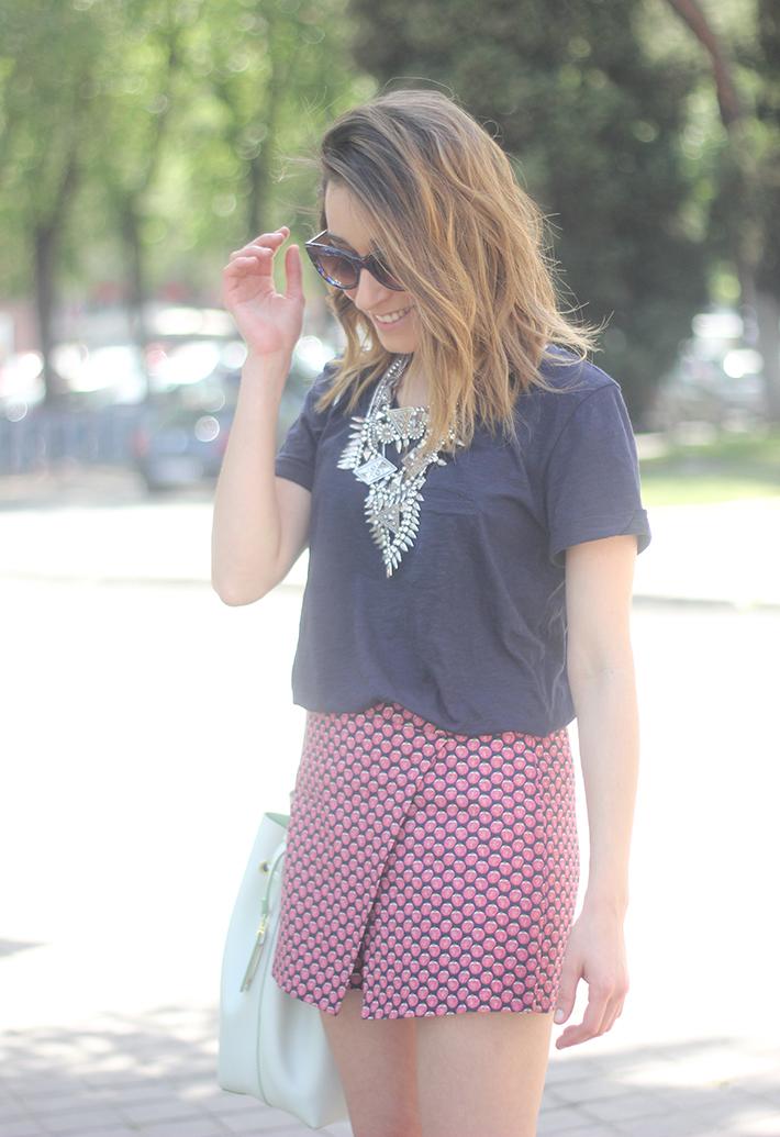 Shorts, Pink, Blue, Uterqüe, Heels, 12