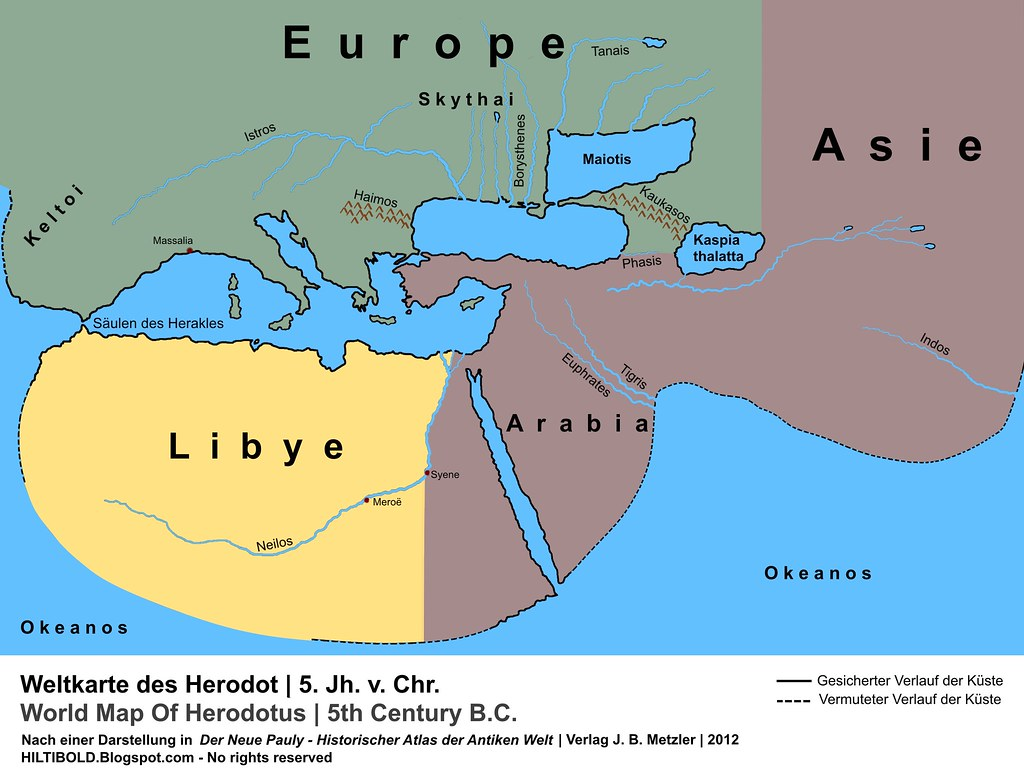 Weltkarte Des Herodot World Map Of Herodotus Antike