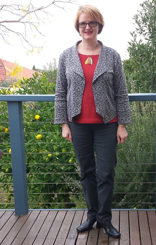 Grainline Morris Blazer with Liesl + Co Maritime top and Style Arc Barb pants