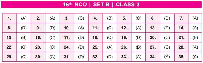 NCO Answer Key Set B Class 3