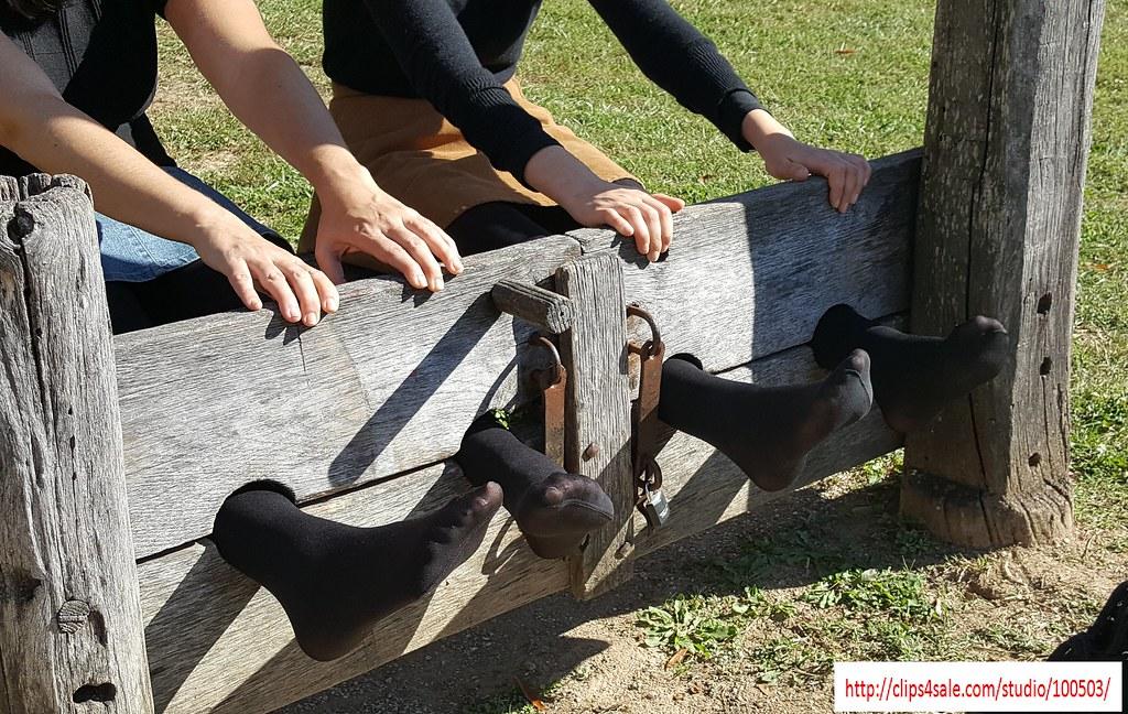Girls In Black Tights For Stocks Tickling  Two Girls -1089