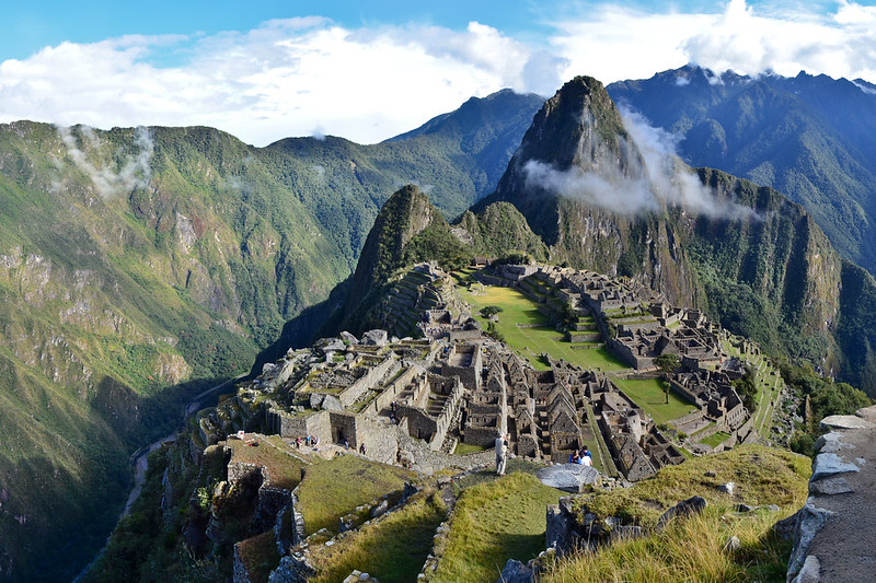 Panoramic view of Machu Picchu Citadel from machu Picchu Mountain.