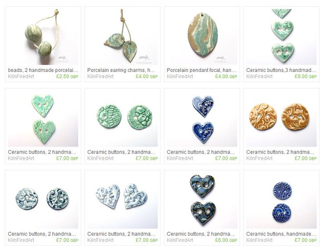ceramic buttons and beads on etsy
