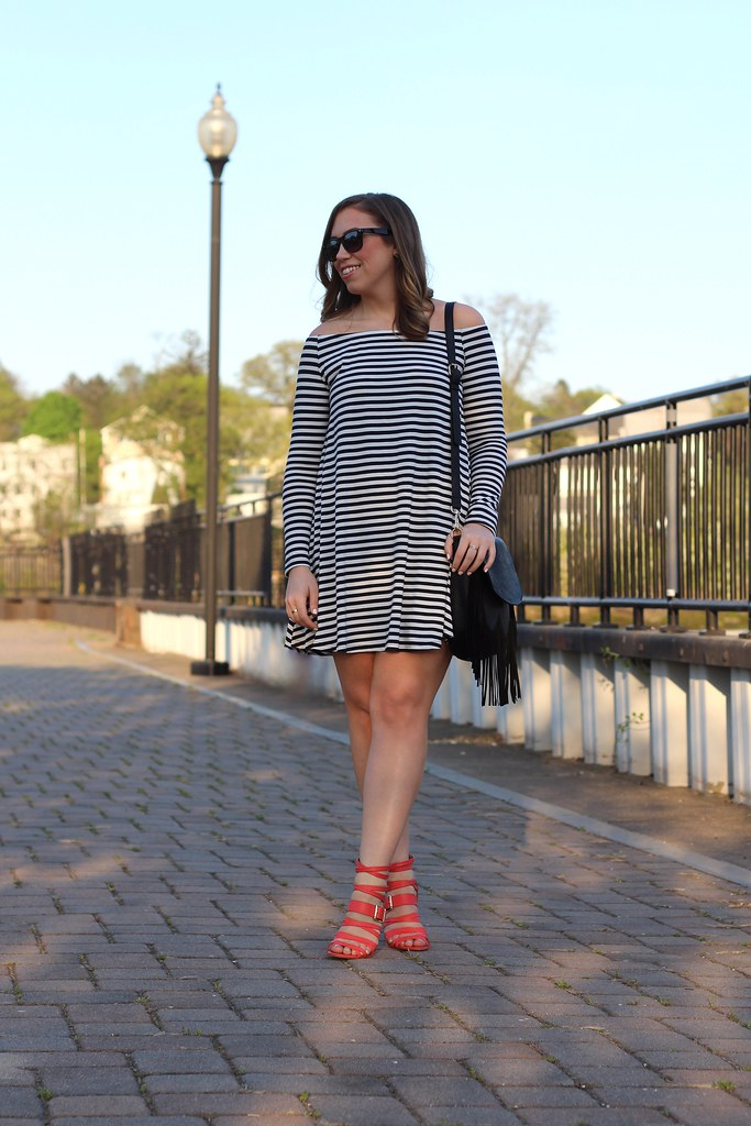 Striped Off The Shoulder Dress | #LivingAfterMidnite