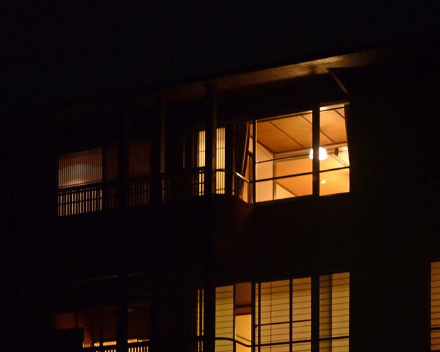 Habitaciones de Hakone en la noche