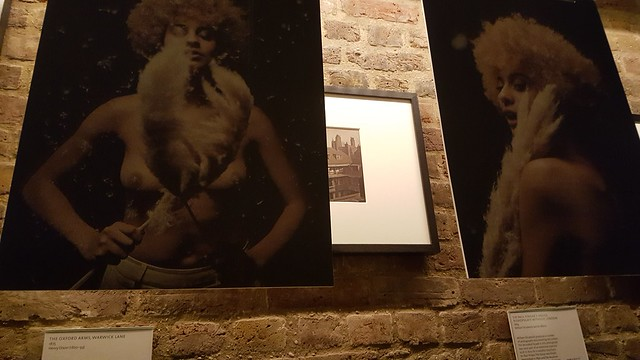 2 portraits of a black woman topless, shes holding big feathers, the other of her with her back