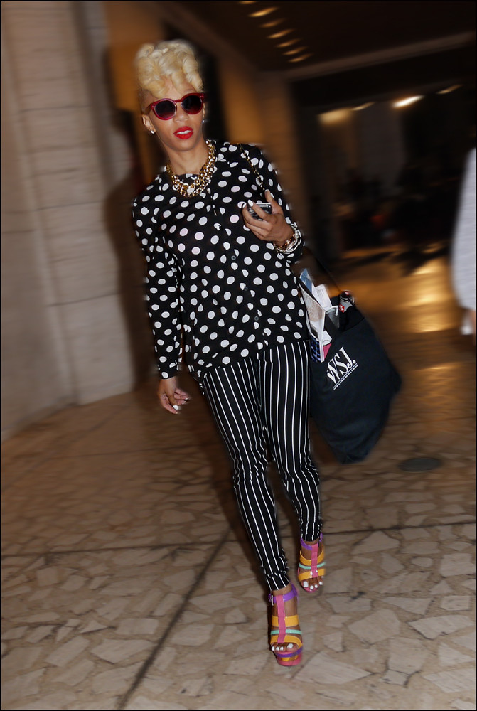 14 W Black And White Polka Dot Shirt B And W Stripe Pants