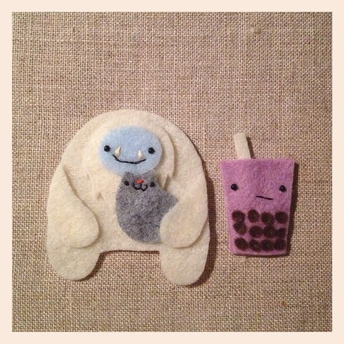Yesterday's custom work made me realize I should have yetis/sasquatches with bubble tea, amirite? #migrationgoods #handmade #wip #yeti #cat #bubbletea