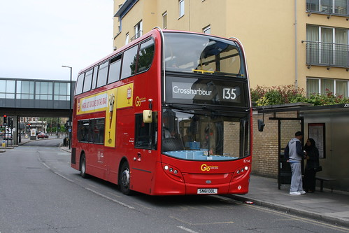Docklands Buses E214 on Route 135, Westferry