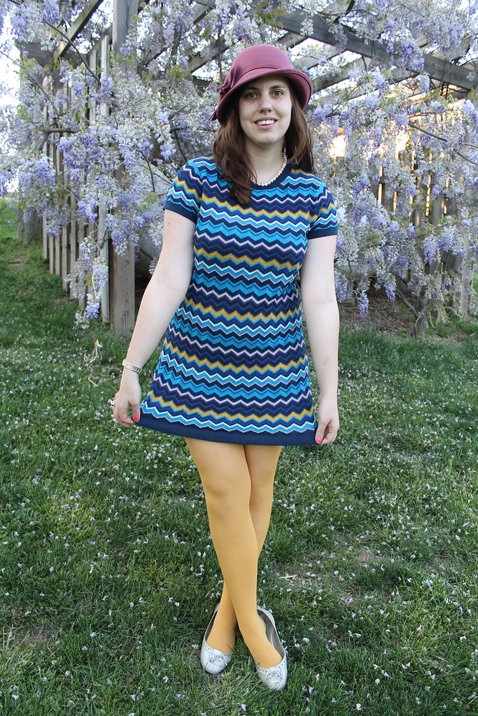Easter outfit: SIlver flats, mustard tights, Missoni for T ...