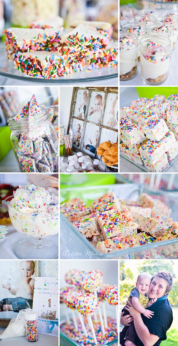 baby boy cake batter rainbow sprinkle birthday party ashlee marie