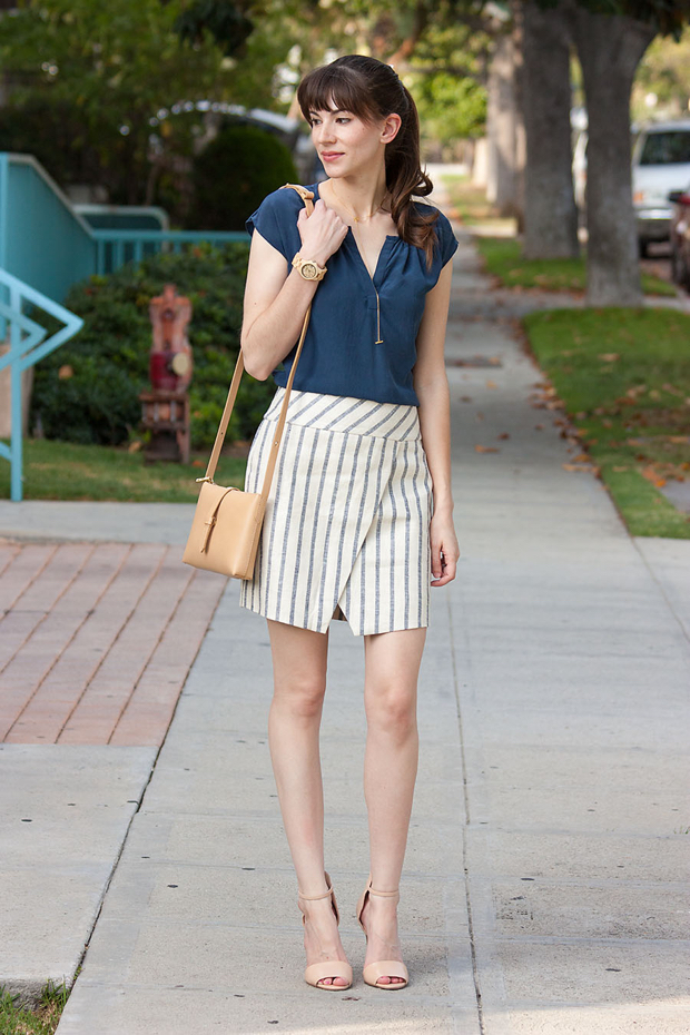 J.Crew Wrap Skirt, Jord Watch, Nude Crossbody Bag, Gorjana Necklace