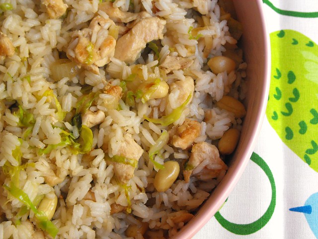 Arroz com frango e amendoins