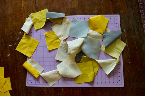 This is how I sew all my two-at-a-time half square triangles. All together!