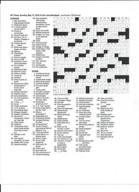 NYT Sunday Puzzle - May 17, 2015