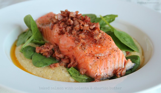 Baked salmon with polenta & chorizo butter 2