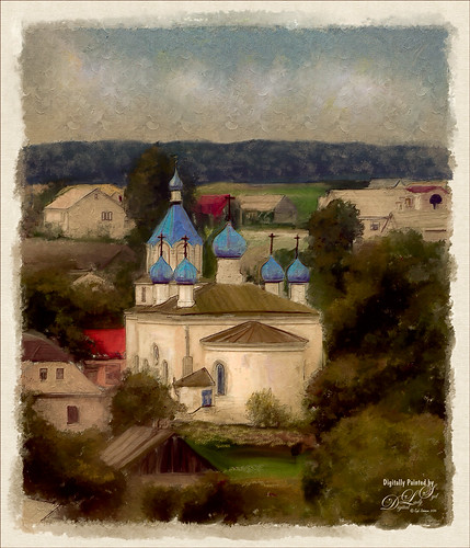 Painted image of St. Trinity Church in Belarus