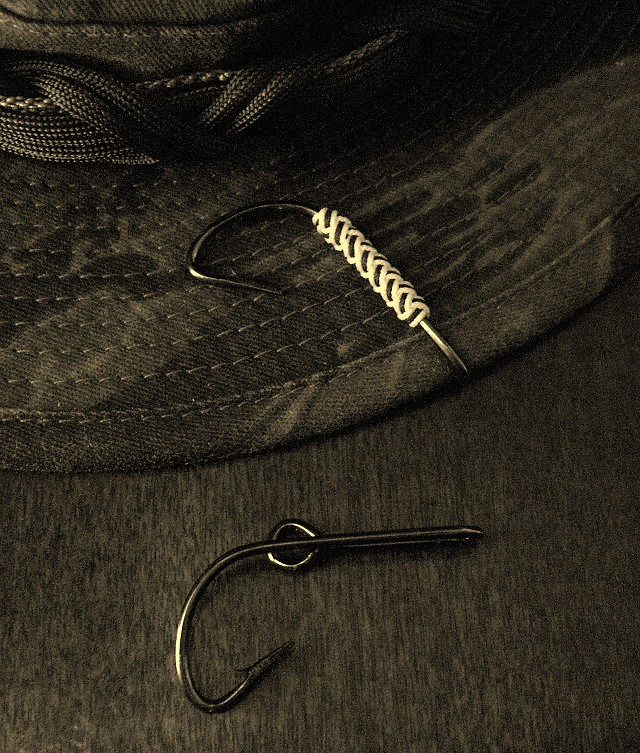 Fishing hook hat clip with 2 bight th i tied a long 2 for Fishing hook hat clip