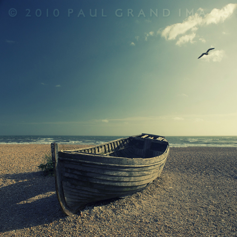 Abandoned Boat On An English Beach