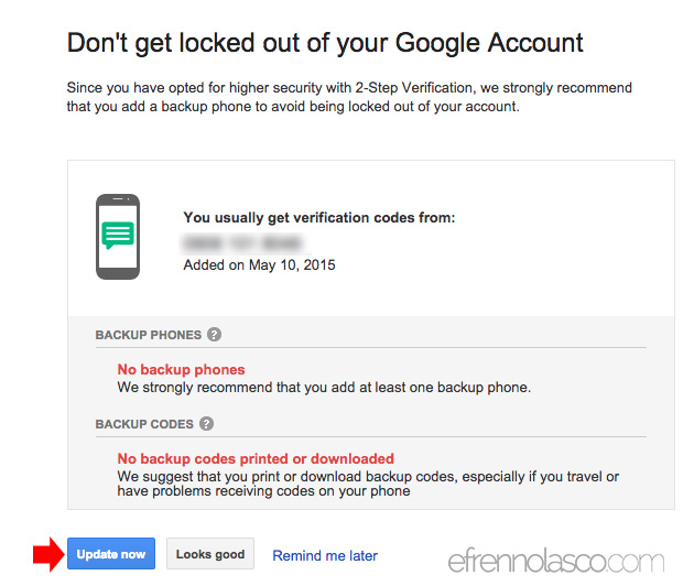 How to update security to google account