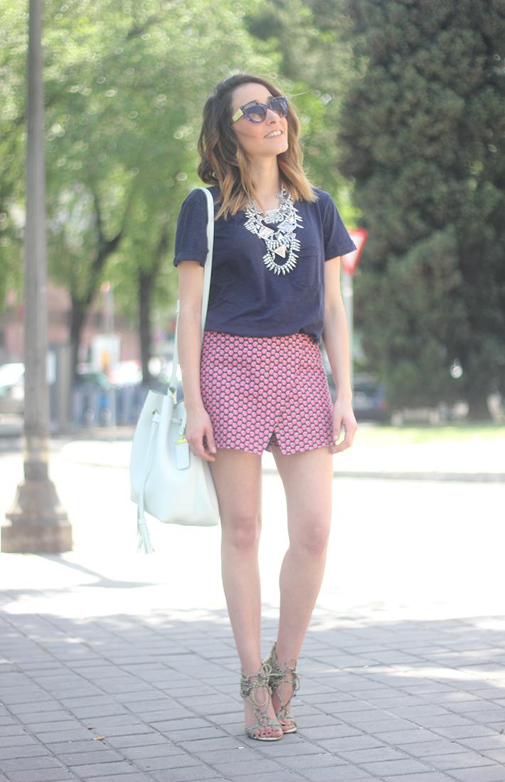 Shorts, Pink, Blue, Uterqüe, Heels, 15