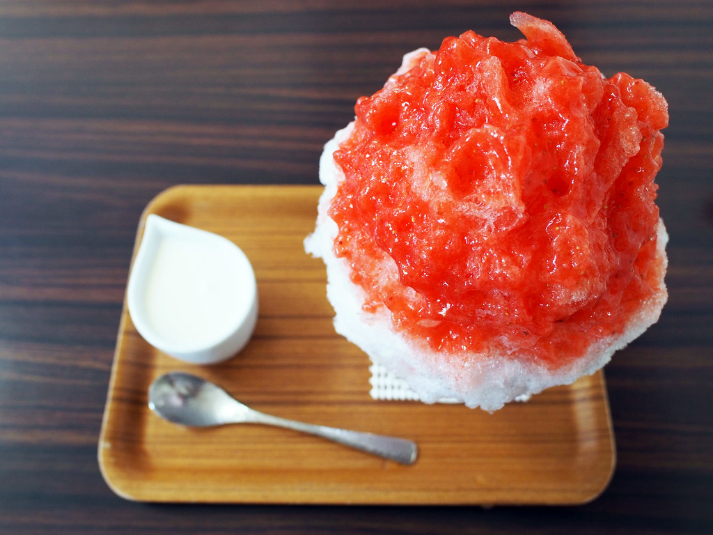 Japanese Ice Shaved - Milk Apricot Kernel Strawberry & Yogurt Condensed Milk