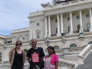 KFTC members Sarah Thomas, K.A. Owens, and Serena Owen in Washington D.C. for the Populism 2015 conference.