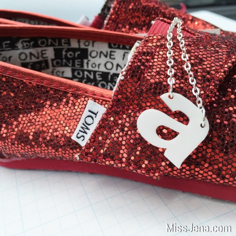 Impulse Letters and monogram necklaces with glitter red tom shoes for girls