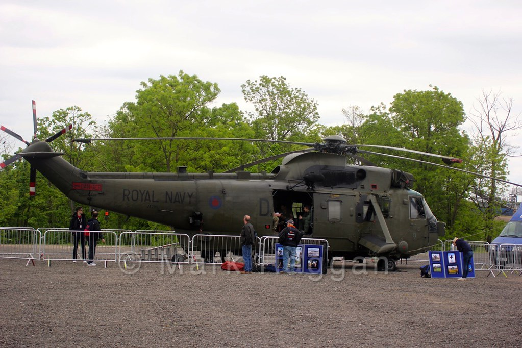 A Sea King helicopter on display at the World Superbikes weekend at Donington Park, May 2015