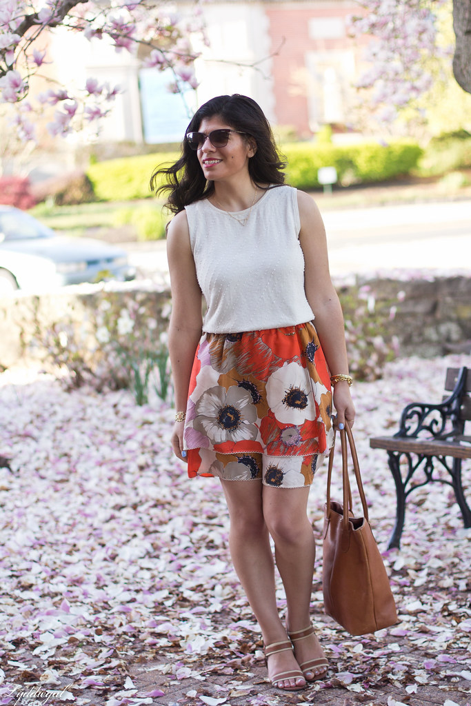 orange floral skirt, cream beaded top, leather tote.jpg