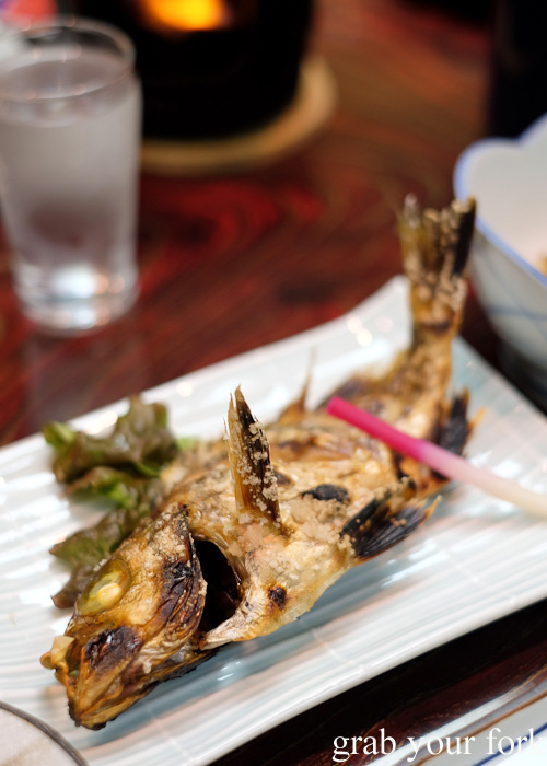 Grilled yanagibachime fish at Nakayasu Ryokan, Kanazawa
