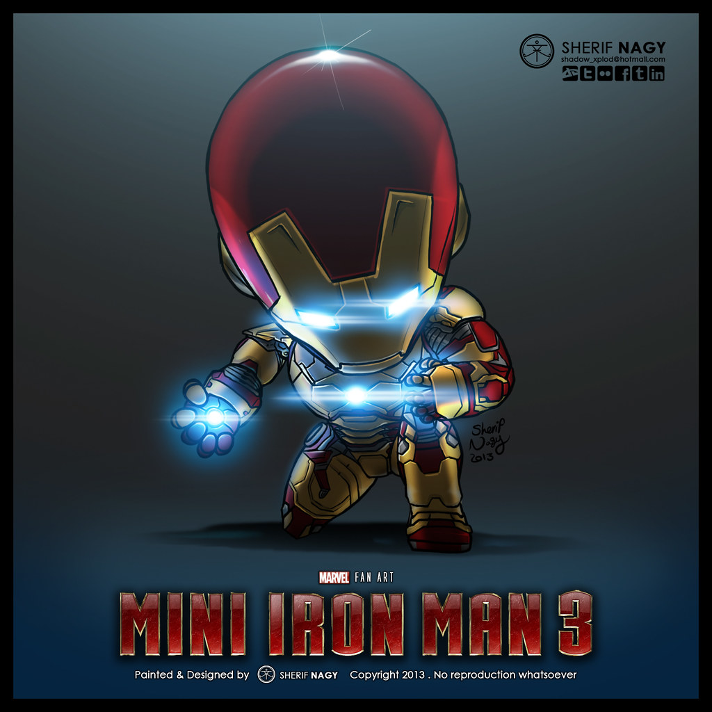 Mini iron man 3 fan art digital painting after - Mini iron man ...