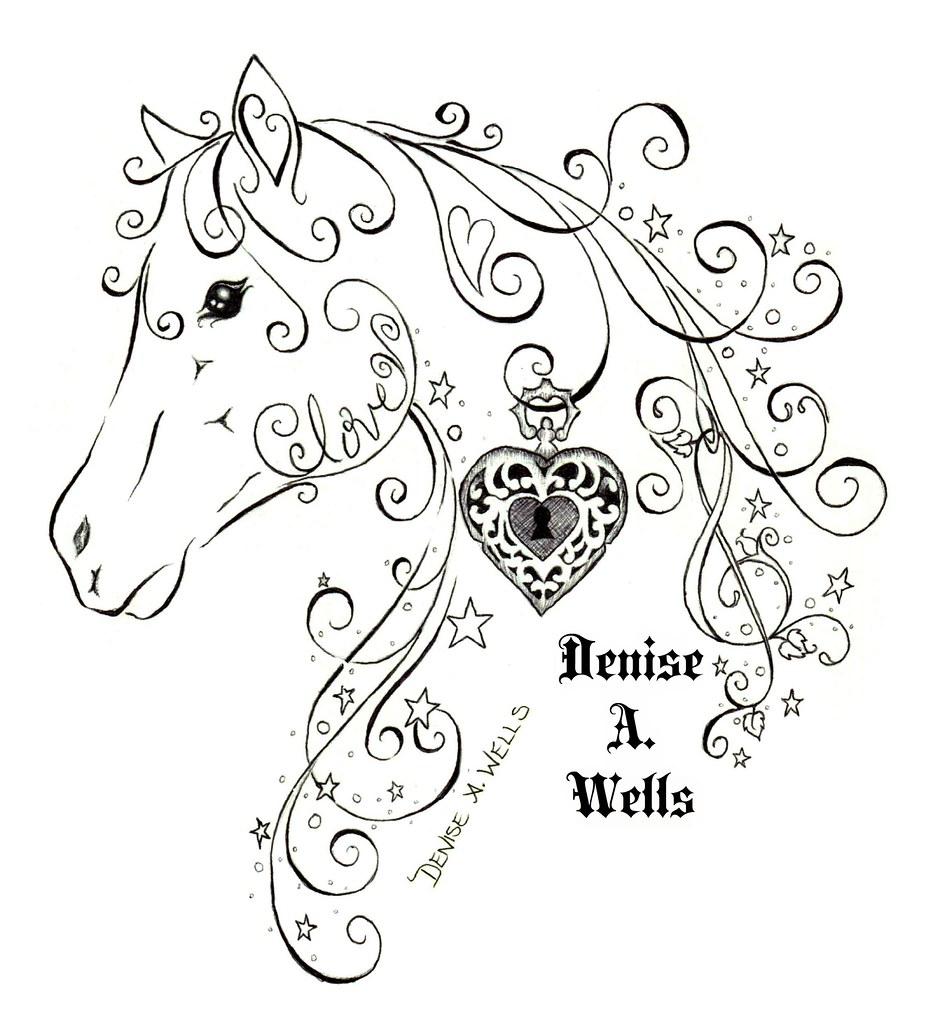 love horse tattoo design by denise a wells horse tattoo m flickr. Black Bedroom Furniture Sets. Home Design Ideas