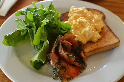 Dill cured Tasmanian salmon, creamy scrambled egg + GF toast