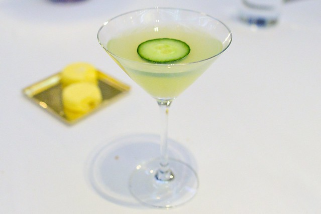 ABSINTHE MINDED Kaffir Lime Vodka, Gin, Lemon Juice, Simple Syrup, Cucumber, Absinthe