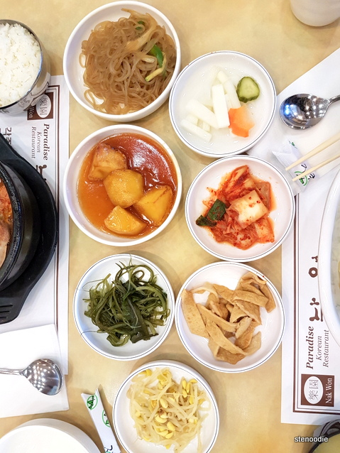 Banchan at Nak Won Paradise Korean Restaurant