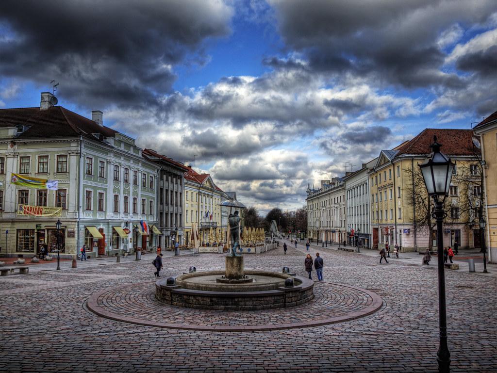 The town Square in Tartu, Estonia