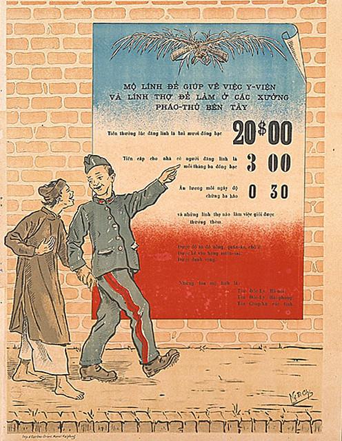 Recrutement de soldats et d'ouvriers spécialisés...