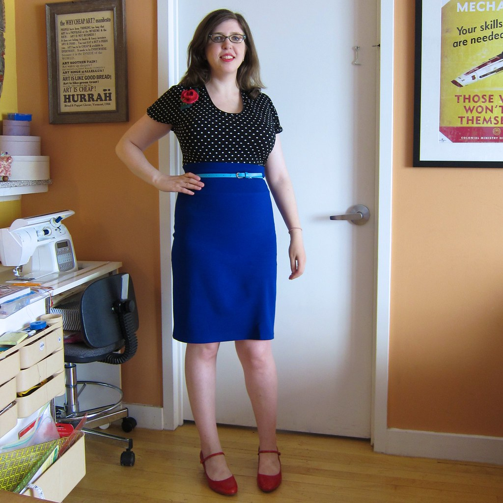 Me Made May 13: new blue ponte pencil skirt