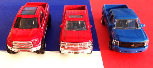 Hot Wheels - Ford F-150 (2014), Matchbox - Chevrolet Silverado (2014), Majorette - Chevrolet Silverado